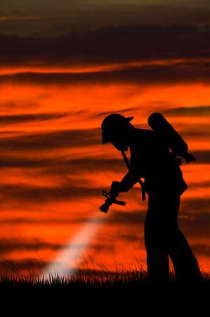 smoke alarm: firefighters Stock Photo