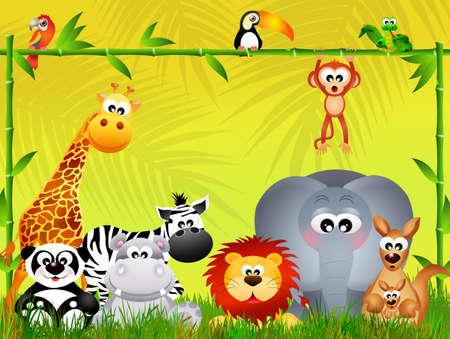 wild animals in the jungle Stock Photo