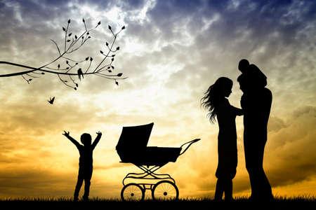 paternity: happy family  Stock Photo