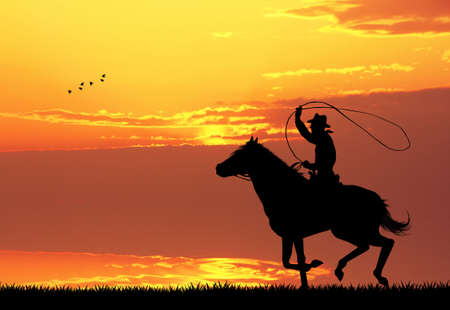 man on horseback at sunset photo