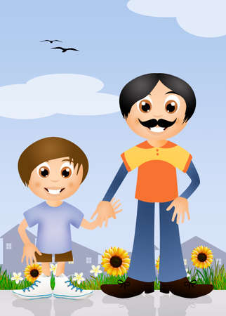 happy pregnant: father and son cartoon