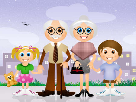 paternity: grandparents with grandchildren Stock Photo