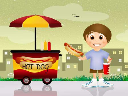 child eating hot dog photo