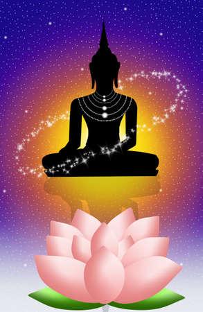 buddha lotus: Buddha and lotus flower