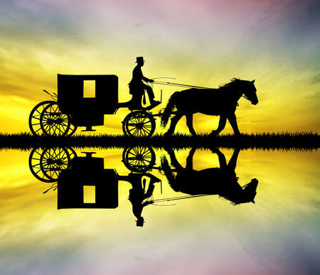 carriage ride at sunset photo