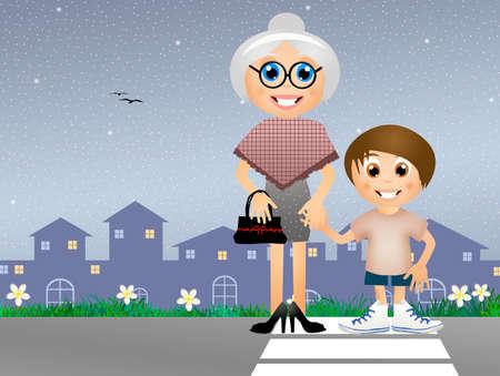 alte dame: Junge mit alten Dame in den Zebrastreifen