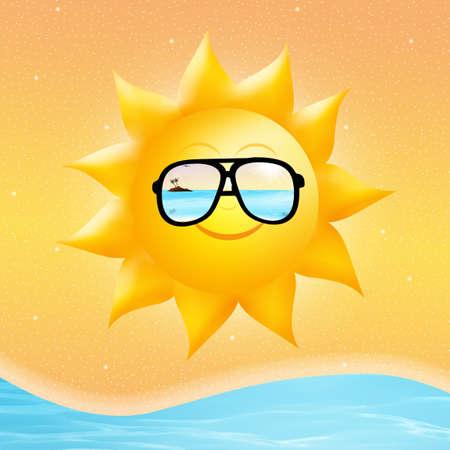 barco caricatura: sol con gafas de sol Foto de archivo