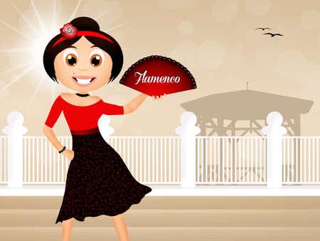 bailando flamenco: Muchacha de baile flamenco
