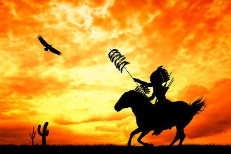 Native American Indian on horse Stock Photo - 27620546