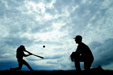 baseball at sunset photo