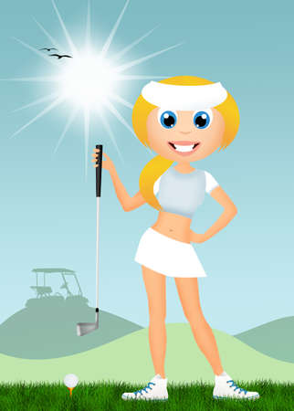 girl play to golf photo