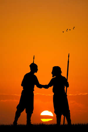combat at sunset photo