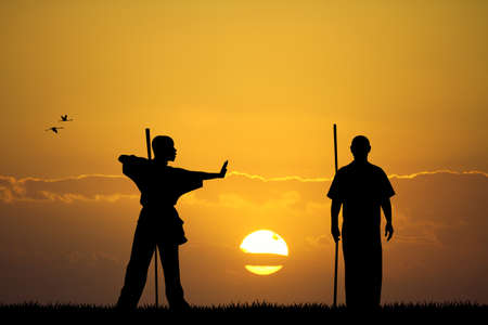 martial art at sunset photo
