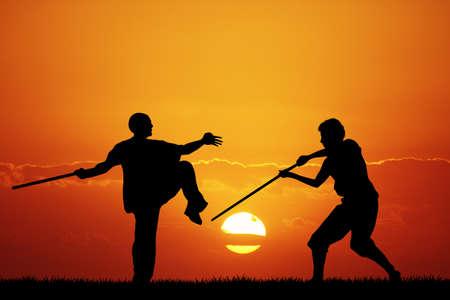resistence: Kung fu at sunset Stock Photo