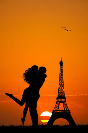 lovers kissing: lovers kissing in Paris Stock Photo