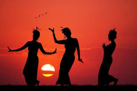 Thai women dance Stock Photo