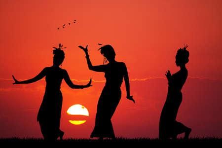 thai women: Thai women dance Stock Photo