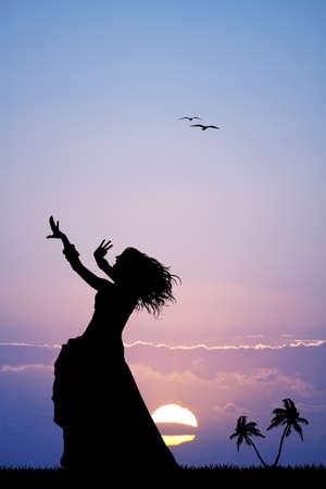 日没時のハワイアン女性 写真素材