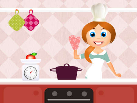 young woman cooking photo