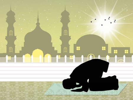 man praying: Muslim man praying