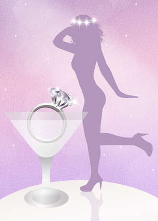 girls night out: engagement ring Stock Photo
