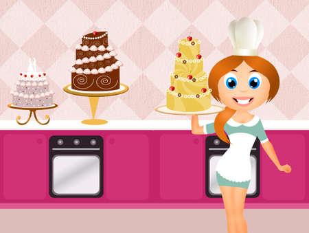 woman cooking cakes photo