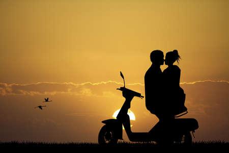 romantic couple kissing at sunset photo