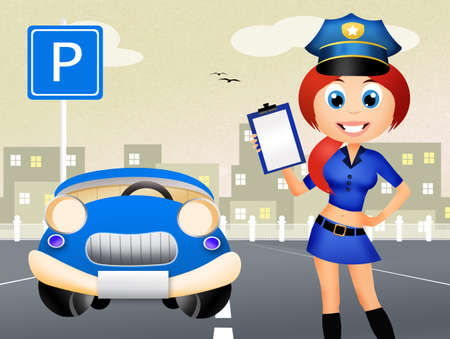 traffic warden: police woman on road