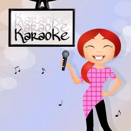 woman singing karaoke photo