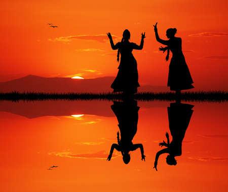 夕暮れ時のインド舞踊