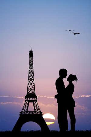kissing in Paris 写真素材