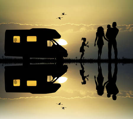 Family camping with caravan photo