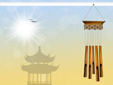 wind chimes: illustration of wind chimes
