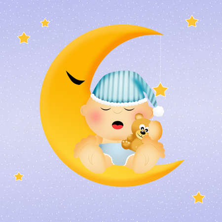 baby sleeping on the moon photo