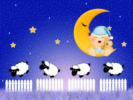 baby sleeping on the moon photo