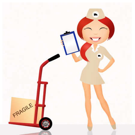 parcel delivery girl photo