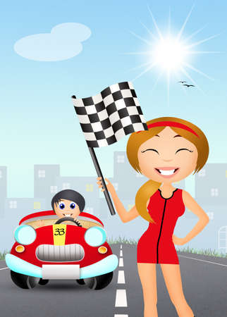 girl with the checkered flag photo