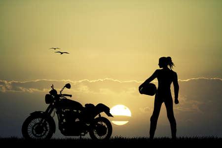 meisje motorrijder Stockfoto