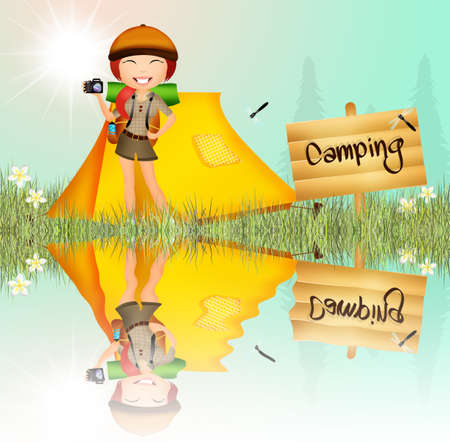 girl in camping photo