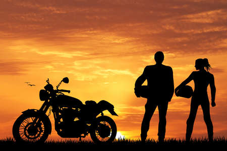 pair of motorcyclists photo