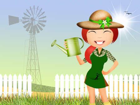 woman gardening: girl does gardening Stock Photo