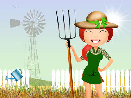 woman gardening: girl in the farm Stock Photo