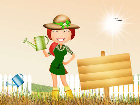 woman gardening: girl watering the plant