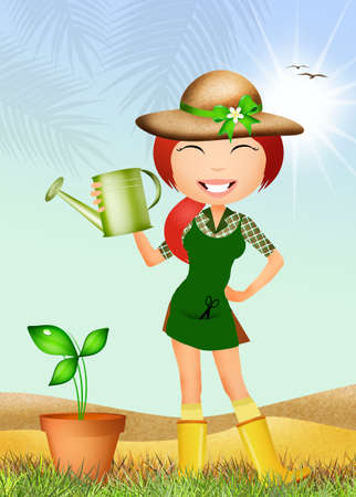 girl watering the plant photo