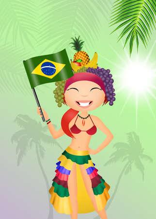 monokini: Brazilian girl with flag Stock Photo
