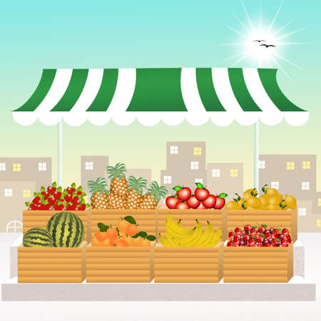greengrocer: variety of fresh fruits Stock Photo