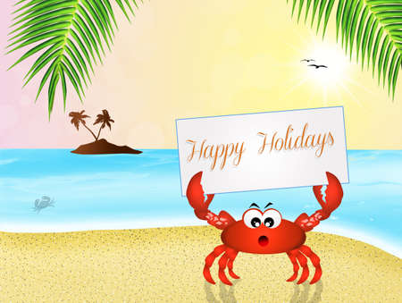crab cartoon: crab cartoon on the beach Stock Photo