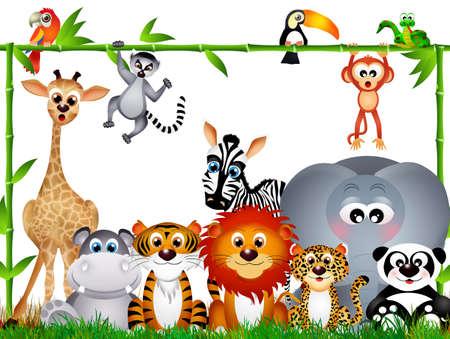 wild animals on white background photo