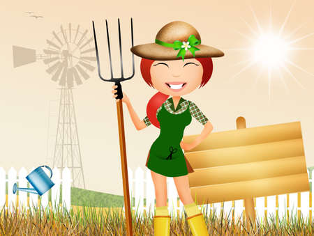 woman gardening: girl in the garden