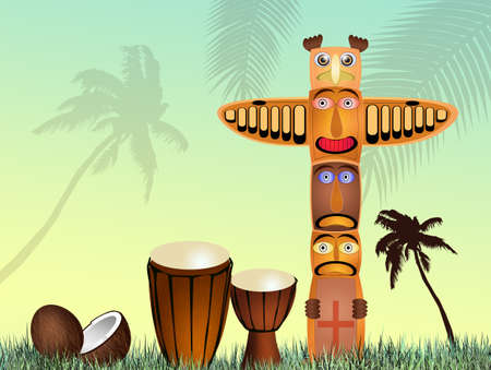 Totem and drums